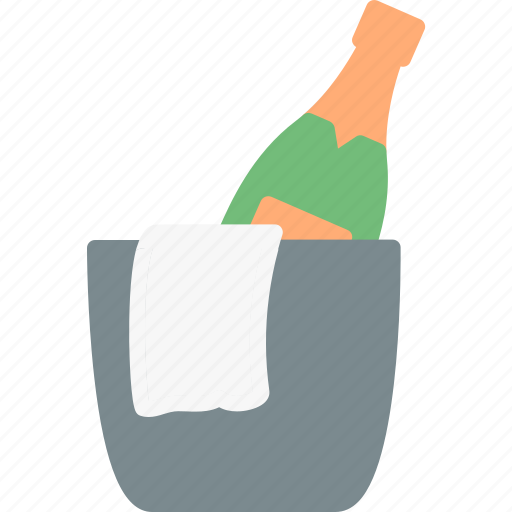 bucket, champagne, ice, restaurant, service icon