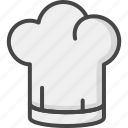 chef, filled, hat, outline, restaurant, service