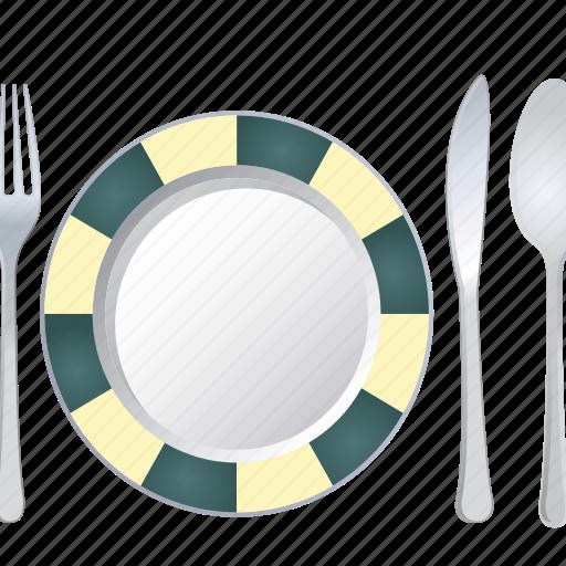 food, fork, knife, plate, restaurant, spoon, vegan icon