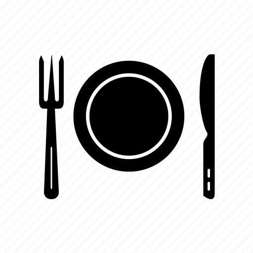 cutlery, dish, plate, plate with knife fork, restaurant icon