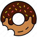 bakery, dessert, donut, food, sweet, snack, chocolate