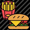 fast food, burger, fries, snack, chip, restaurant