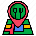check, in, location, online, restaurant icon