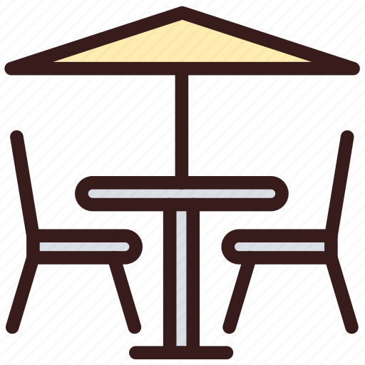 chairs, furniture, restaurant furniture, table icon