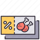 card, coupon, discount, food, gift, price, voucher icon