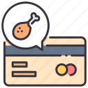 card, credit, food, pay, payment, purchase, service icon