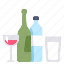 alcohol, bottle, drink, glass, water, wine icon