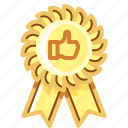 badge, like, recommendation, thumb icon