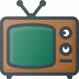 old, retro, tv icon