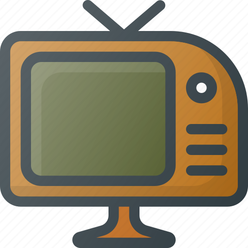 old, retro, tv icon