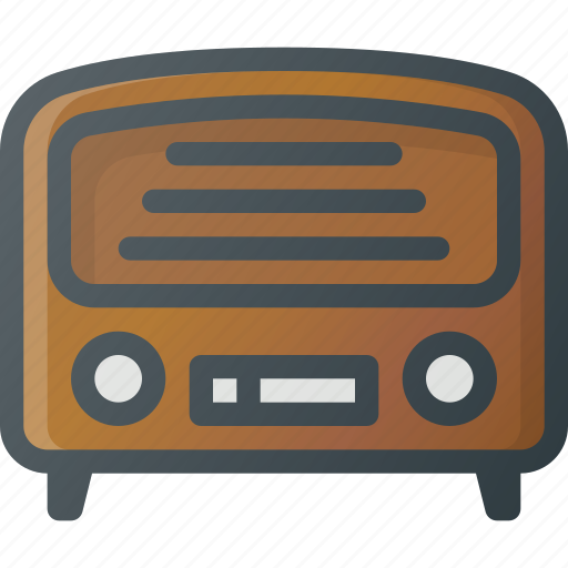 old, radio, retro icon