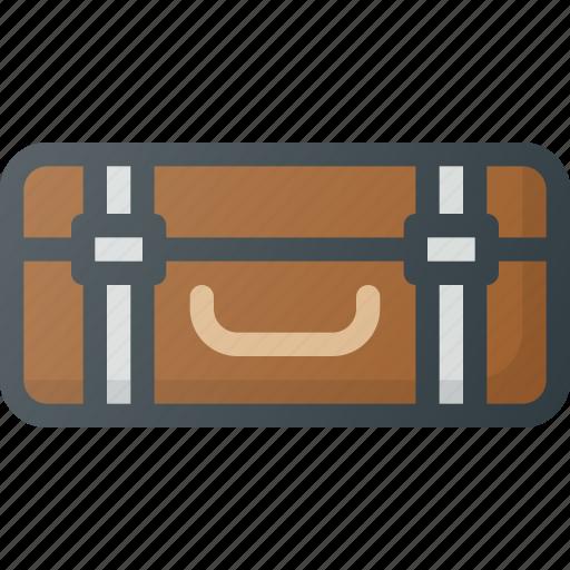 old, retro, suitcase, vintage icon