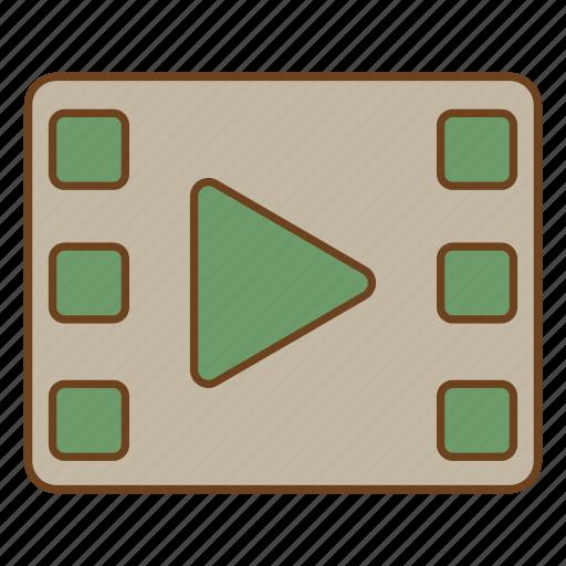 film, play, retro, ui, user interface, video, watch icon