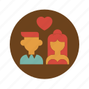 circle, couple, groom, love, married, retro, wedding icon