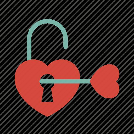 key, love, unlock icon