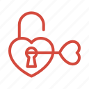 heart, key, love, unlock icon
