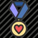 achievement, love, medal, reward icon