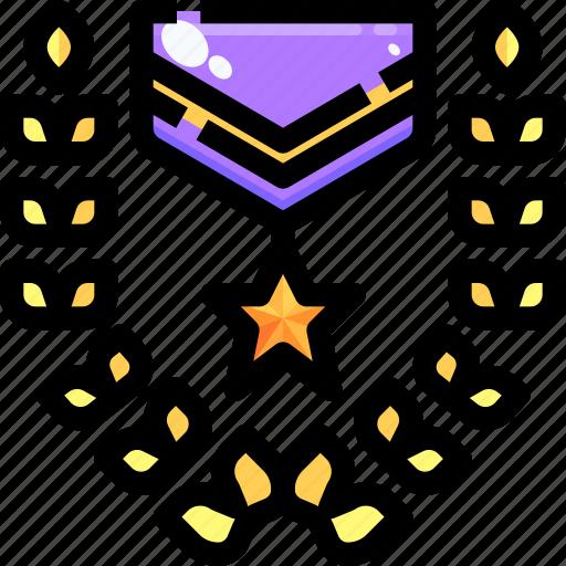 award, badge, emblem, insignia, laurel, medal, recognition icon