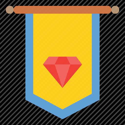 badge, diamond, rank, reward icon