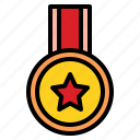 badge, good, honor, level, medal icon