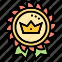 badge, champion, golden, medal, reward