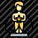 celebration, award, trophy, statue, golden icon