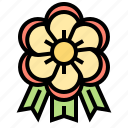 award, badge, decorative, flower, ribbon icon