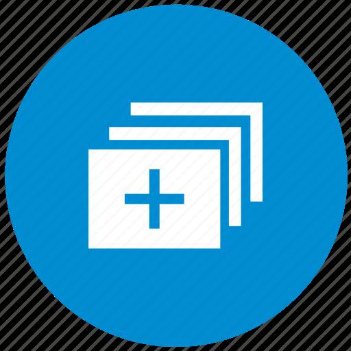 add, blue, create, image, round, tile, window icon