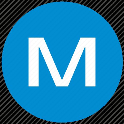 key, latin, letter, m icon