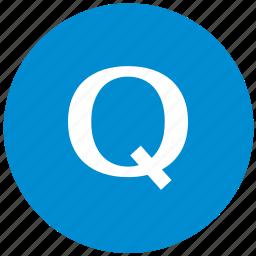 key, latin, letter, q icon