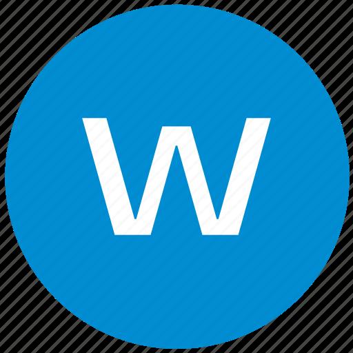 key, latin, letter, w icon
