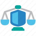 balance, insurance, justice, law, protect, protection, shield icon