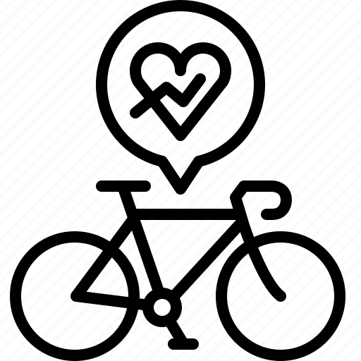 bicycle, heart, heartbeat, life, pulse, road, yumminky icon
