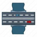 bridge, car, cartoon, highway, logo, object, road