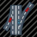 car, cartoon, highway, junction, logo, object, road