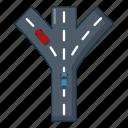 car, cartoon, fork, highway, logo, object, road