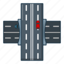 bridge, car, cartoon, logo, object, over, road