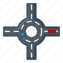 car, cartoon, circular, intersection, logo, object, road