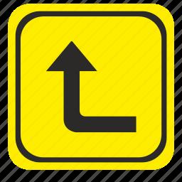 arrow, forward, left, poi, pointer, road, way icon