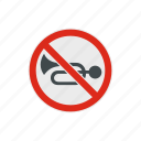 forbidden, horn, no, prohibition, road, sound, traffic icon