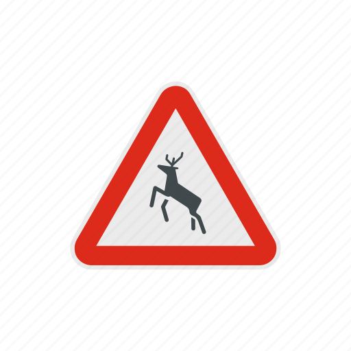 animal, danger, deer, road, safety, traffic, warning icon