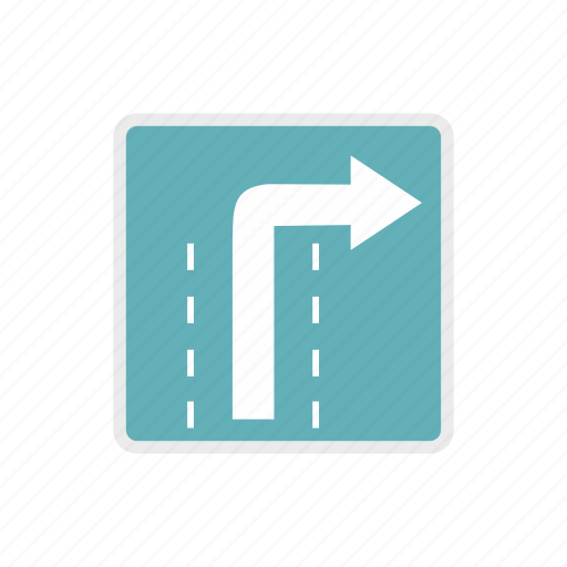 arrow, direction, right, road, traffic, transportation, warning icon