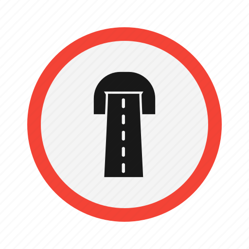 cave, road sign, sign, tunnel icon