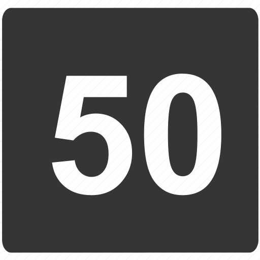 fifty, limit, road, sign, speed icon