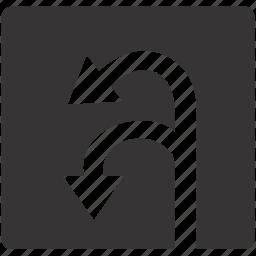 road, sign, turn, u, zone icon