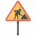 road signs, traffic management, traffic instructions, traffic warnings, roadworks sign icon
