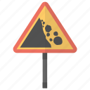 falling rocks, road safety, road sign, traffic sign, traffic signal icon