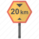 20 km, driving instructions, speed limit, traffic laws, traffic sign icon