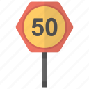 fifty km, speed limit, speed sign, traffic sign, traffic symbol icon