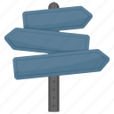 fingerpost, guidepost, signboard, signpost, street sign icon